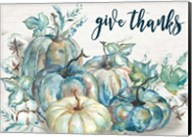 Blue Watercolor Harvest Pumpkin Landscape Give Thanks Fine-Art Print