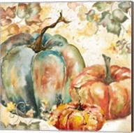 Watercolor Harvest Teal and Orange Pumpkins I Fine-Art Print