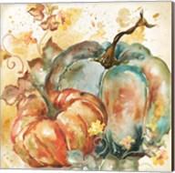 Watercolor Harvest Teal and Orange Pumpkins II Fine-Art Print