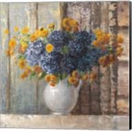 Fall Dahlia Bouquet Crop Blue Fine-Art Print