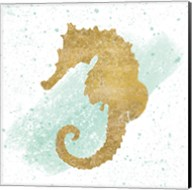 Silver Sea Life Seahorse no Gold Splatter Fine-Art Print