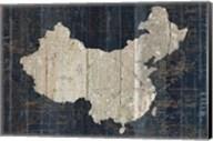 Old World Map Blue China Fine-Art Print