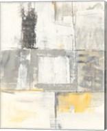 Gray and Yellow Blocks II White Fine-Art Print