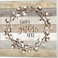 Family Gathers Here Cotton Wreath Fine-Art Print