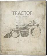 Industrail Farm Tractor Blue Print 1 Fine-Art Print
