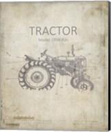 Industrail Farm Tractor Blue Print 2 Fine-Art Print