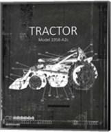 Industrail Farm Tractor Blue Print BW3 Fine-Art Print
