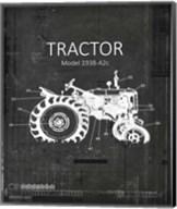 Industrail Farm Tractor Blue Print BW4 Fine-Art Print