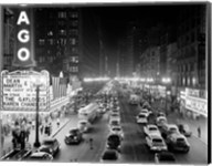 1950s 1953 Night Scene Of Chicago State Street Fine-Art Print
