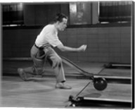 1950s Side View Of Man Bowling Fine-Art Print
