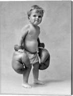 1930s Baby Boy Toddler Wearing  Boxing Gloves Fine-Art Print