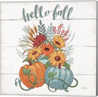 Fall Fun II - Gray and Blue Pumpkin Fine-Art Print