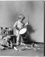 1930s Boy Beating On Toy Drum Fine-Art Print