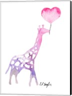 Giraffe with Heart Balloon Fine-Art Print
