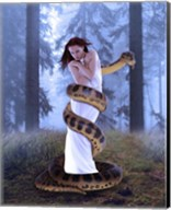 Snake And Lady In White Fine-Art Print
