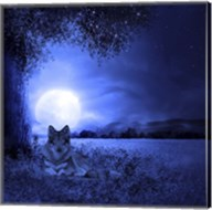 Moon Night And Wolf Fine-Art Print
