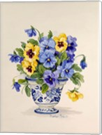 Blue and White Porcelain Pansies Fine-Art Print