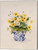 Blue and White Porcelain Daisies Fine-Art Print