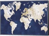 World Map Navy Gold Fine-Art Print