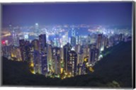 China, Hong Kong, Overview of City at Night Fine-Art Print