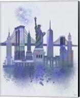 New York Skyline Watercolour Splash Blue Fine-Art Print