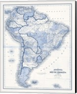 South America in Shades of Blue Fine-Art Print