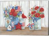 Patriotic Glass Jars with Flowers Fine-Art Print