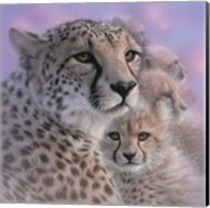 Cheetah Mother and Cubs - Mother's Love - Square Fine-Art Print