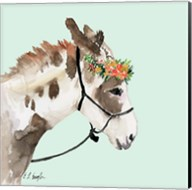 Pony with Floral Crown - Mint Background Fine-Art Print