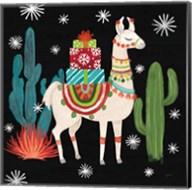 Lovely Llamas II Christmas Black Fine-Art Print