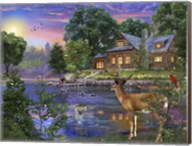 White Tail Deer Lakehouse Fine-Art Print