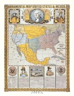 Ornamental Map/United States and Mexico Fine-Art Print
