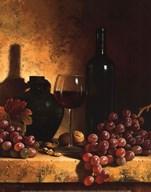 Wine Bottle, Grapes and Walnuts Fine-Art Print