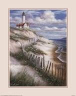Lighthouse with Deserted Beach Fine-Art Print