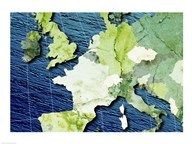 Close-up of a world map - blue and green Fine-Art Print