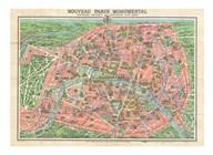 Map of Paris circa 1931 including monuments Fine-Art Print