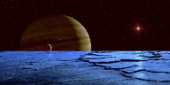 Jupiter and its Moon Lo as Seen from the Surface of Jupiter's Moon Europa Fine-Art Print