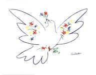 Colombe Avec Fleurs Fine-Art Print