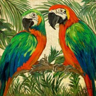 Island Birds Square on Burlap I Fine-Art Print