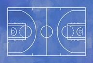 Basketball Court Blue Paint Background Fine-Art Print