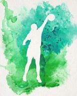 Basketball Girl Watercolor Silhouette Inverted Part I Fine-Art Print