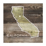 California Rustic Map Fine-Art Print