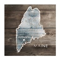 Maine Rustic Map Fine-Art Print