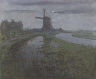 Oostzijdse Mill Along the River Gein by Moonlight Fine-Art Print