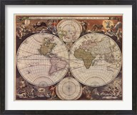 New World Map, 17th Century Fine-Art Print