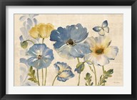 Watercolor Poppies Blue Landscape Fine-Art Print