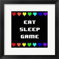 Eat Sleep Game -  Black with Pixel Hearts Fine-Art Print