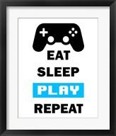 Eat Sleep Game Repeat  - White and Blue Fine-Art Print