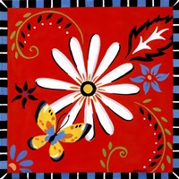 Daisies And Butterflies-Red Framed Print