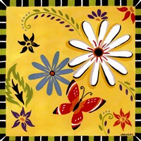 Daisies And Butterflies-Yellow Framed Print